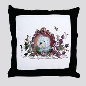 Westie Portrait Dog Art Throw Pillow