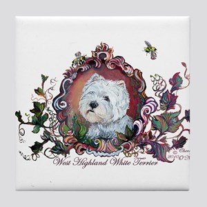 Westie Portrait Dog Art Tile Coaster