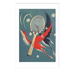 Art Nouveau Tennis Birds Postcards (package Of 8)