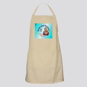 Pray the Rosary - BBQ Chef Apron Blue Oval Logo