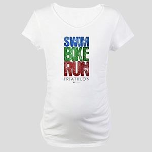 Swim, Bike, Run - Triathlon Maternity T-Shirt