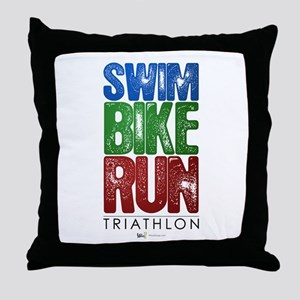 Swim, Bike, Run - Triathlon Throw Pillow