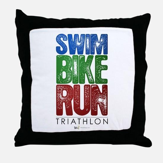 Swim, Bike, Run - Triathlon Throw Pillow
