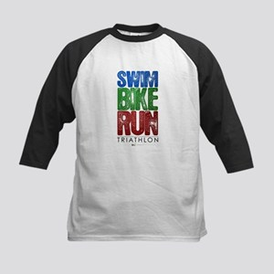 Swim, Bike, Run - Triathlon Kids Baseball Jersey