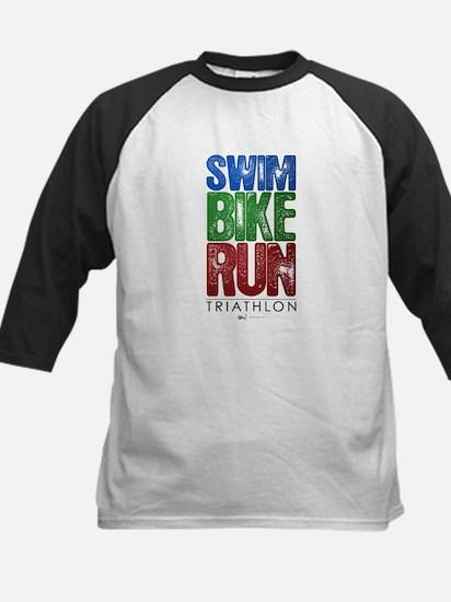 Swim, Bike, Run - Triathlon Kids Baseball Jersey