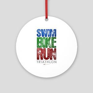 Swim, Bike, Run - Triathlon Round Ornament