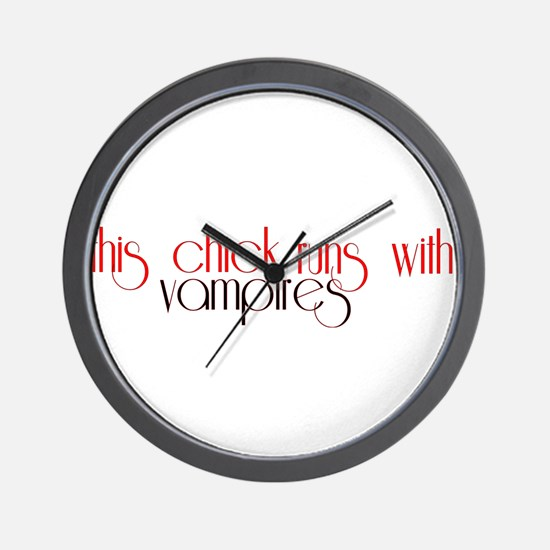 This Chick Runs With Vampires Wall Clock