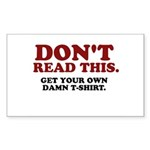 Don't Read This... Sticker (Rectangle 50 pk)