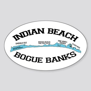 Indian Beach NC - Ligththouse Design Sticker (Oval