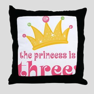 Princess Crown 3rd Birthday Throw Pillow