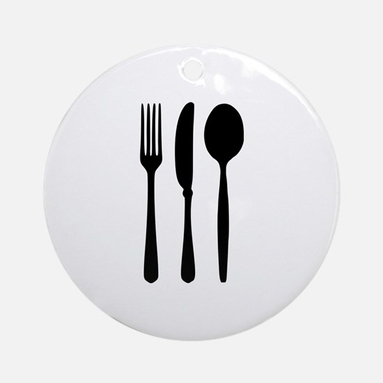 Cutlery - Fork - Knife - Spoon Ornament (Round)