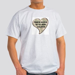 Proud Army sister camo heart Ash Grey T-Shirt