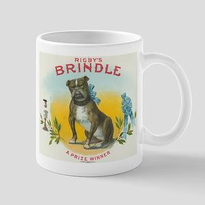 Brindle Bulldog antique label Mug