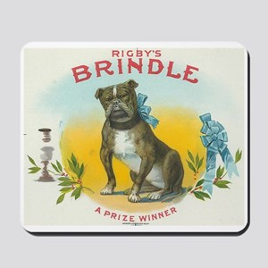 Brindle Bulldog antique label Mousepad
