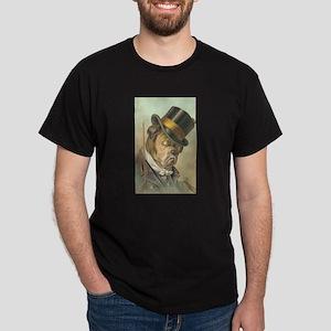 Cute Bulldog Top Hat Dark T-Shirt