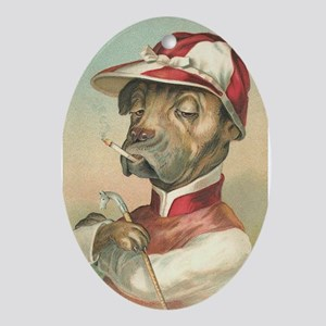 Cute Dog Jockey Ornament (Oval)