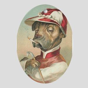 Cute Dog Jockey Ornament (Oval)