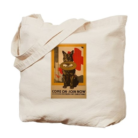 Red Cross Dog Poster Tote Bag