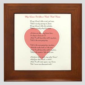 Red, Red Rose, Burns Poem Framed Tile