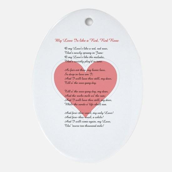 Red, Red Rose, Burns Poem Oval Ornament