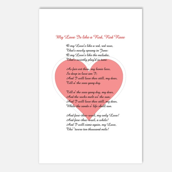 Red, Red Rose, Burns Poem Postcards (Package of 8)