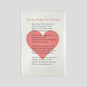 Red, Red Rose, Burns Poem Rectangle Magnet