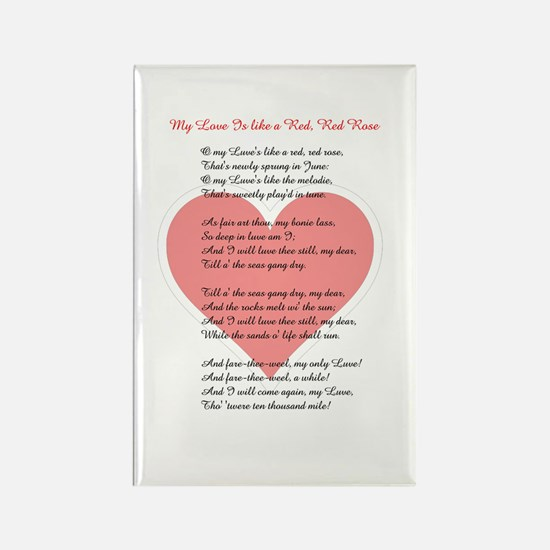 Red, Red Rose, Burns Poem Rectangle Magnet