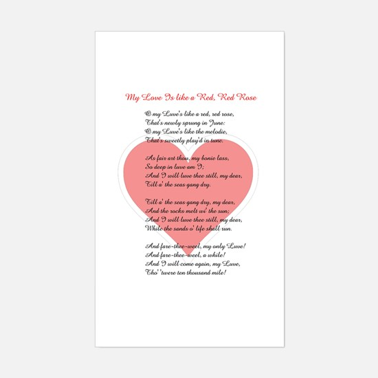 Red, Red Rose, Burns Poem Rectangle Decal