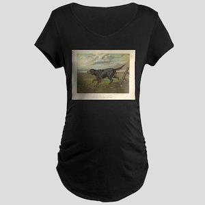 Hunting Dog antique print Maternity Dark T-Shirt