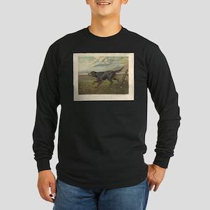Hunting Dog antique print Long Sleeve Dark T-Shirt