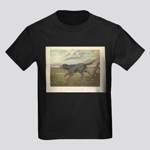 Hunting Dog antique print Kids Dark T-Shirt