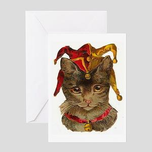 Clown Jester Cat Greeting Card