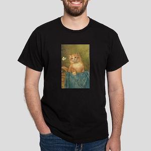 Orange Kitten with Butterfly Dark T-Shirt