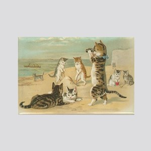 Kitties on the Beach Rectangle Magnet