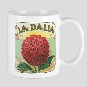 Red Dahlia antique label Mug