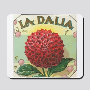 Red Dahlia antique label Mousepad
