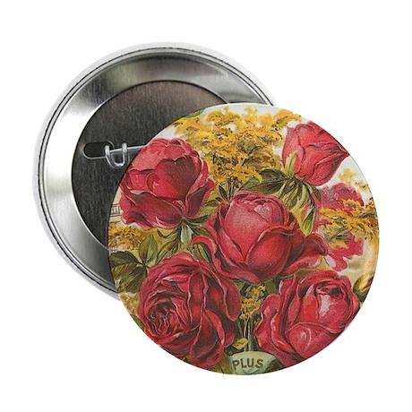 "Red Rose Bouquet antique labe 2.25"" Button (10 pac"