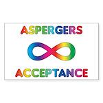 Aspergers Acceptance Stickers (Rectangle 10 pk)