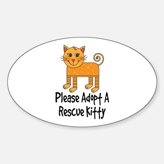 Adopt A Rescue Kitty Sticker (Oval)