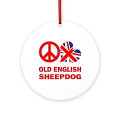 Peace Love Old English Sheepdog Ornament (Round)