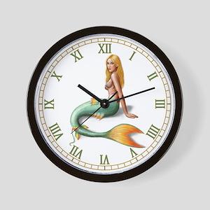 Mermaid with orange fin Wall Clock