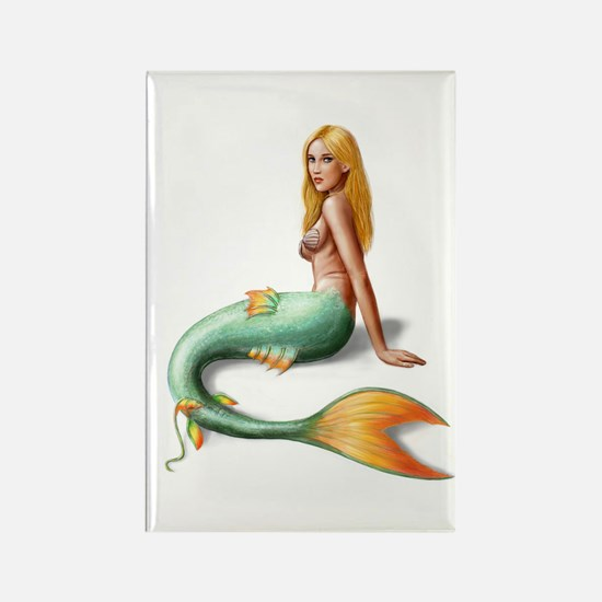 Mermaid with orange fin Rectangle Magnet