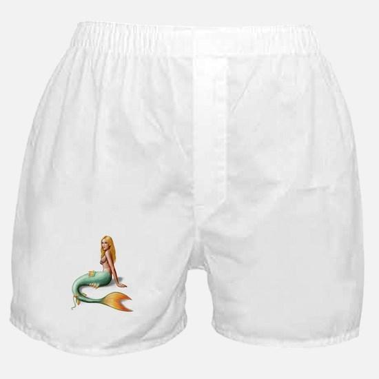 Mermaid with orange fin Boxer Shorts