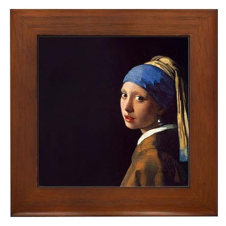 Girl With a Pearl Earring Framed Tile