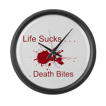 Life Sucks, Death Bites Large Wall Clock
