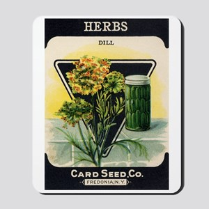 Dill Herbs antique seed packe Mousepad