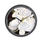 White Gardenia Wall Clock