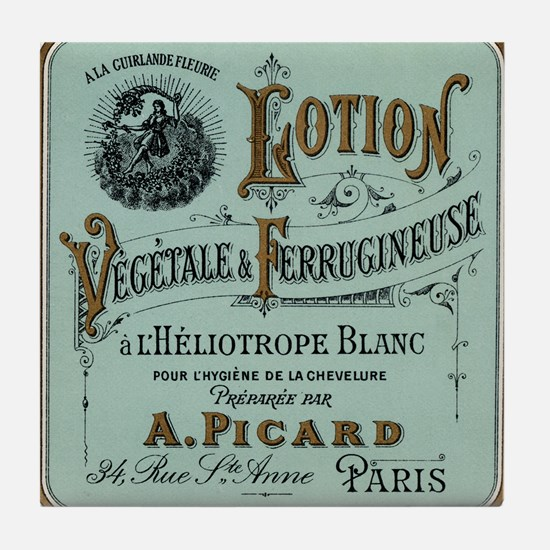 French Cosmetic Label antique Tile Coaster