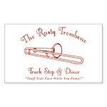 Rusty Trombone Sticker (Rectangle 50 pk)