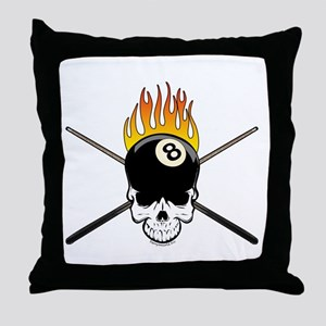 Skull Billiards Throw Pillow